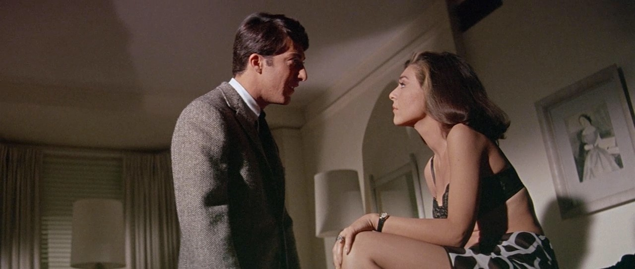 "Кадр из фильма ""Выпускник"" (The Graduate). Дастин Хоффман и Энн Бэнкрофт. Иллюстрация к песне Mrs. Robinson (Миссис Робинсон) (Simon and Garfunkel)"